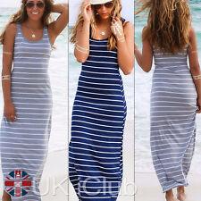Full Length Crew Neck Striped Sundresses for Women