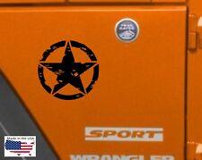 NEW Dist MILITARY STAR Hood Door Truck Vinyl Decal 3 sizes (Fits Jeep Wrangler)