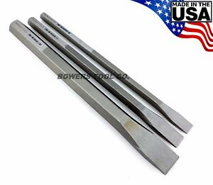 """Wilde Tool 3pc 12in. Extra Long Cold Chisel Set 1/2 3/4 & 1"""" Cut Made in USA"""