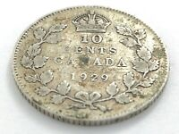 1929 Canada 10 Ten Cent Silver Dime Canadian Circulated George V Coin L496