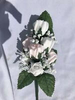 *NEW*  Ladies  Wedding Corsage, Pink & White  Roses , Gyp  Ribbons & Gyp