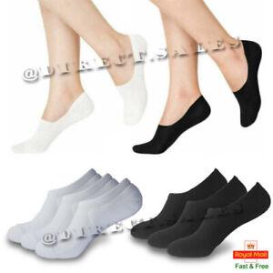 3 & 6 Pair Men Women Invisible Socks Anti Slip Trainer Shoe Liner Gym Socks New