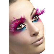 Faux cils longues plumes roses avec colle adulte Carnaval Maquillage deguisement