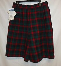 "NWT Pendleton 10 28"" Shorts Wool Red Green Tartan Plaid Pleat High Waist Golf"