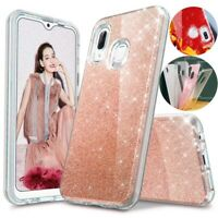For Samsung Galaxy A10e Case Glitter Bling Shockproof Hybrid Armor Phone Cover