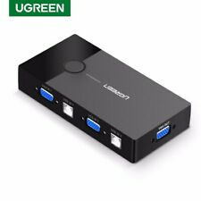 Ugreen USB KVM Sharing Switch VGA Switcher Box 2 In 1 Out Monitor Video Adapter
