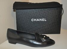 d3946a46c971 New listing CHANEL 17C Camellia Flower Pearl Mocassins Loafers Flat Shoes  Black Leather 39.5