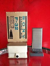 Vintage 1970's Sony F-32 dynamic cardioid microphone old used Aiwa w stand & box
