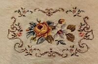 Vintage NEEDLEPOINT FLORAL Seat Cover/ Pillow/ Art