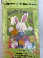 """New listing Evergreen Easter Bunny & Eggs Double Sided Suede House Flag 29"""" X 43"""" Nib Htf"""