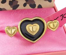 Betsey Johnson GIFTING Gold Status Black Heart Stud 2-Finger Ring $85 NEW