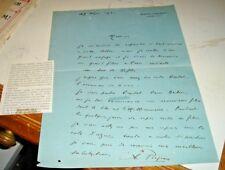 autografo originale su lettera manoscritta dell'attore ALBERT PREJEAN 19/5/1931