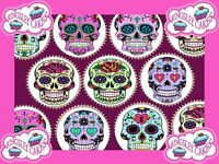 24 x SUGAR SKULLS PREMIUM QUALITY CUPCAKE TOPPERS EDIBLE RICE WAFER PAPER 266