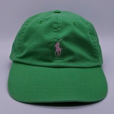vtg POLO RALPH LAUREN Embroidered Pony Logo Hat Leather Strapback Cap Green