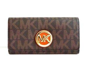 NWT Michael Kors Fulton Logo Carryall Wallet Brown MSRP $148