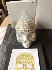 Cryptik - Memento Mori - Gold Paint on White Skull- AP/10 W/ signed mini-print