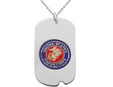 US MARINE CORPS Dog Tag Pendant in Sterling Silver