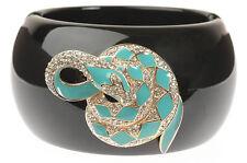 Chunky Black Turquoise Enamel Snake Serpent Statement Bangle w Swarovski Crystal