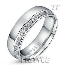 TT 6mm Silver Stainless Steel Sparkling CZ Eternity Wedding Band Ring (R257)