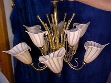 SPECTACULAR 10 Light 2Tier Chandelier MURANO MAUVE CALLA LILY GLASS SHADES ITALY