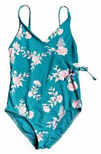 $99 Roxy Kid Girl Blue Stretch V-Neck Floral One-Piece Swimwear Swim Swimsuit 10