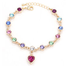 Heart Multi-color Crystal Tennis Bracelet Yellow Gold Plated Adjustable Chain