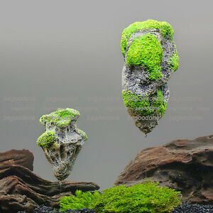 Floating Rock Stones Ornament Aquarium  Fish Tank Avatar Moss Plant Landscape