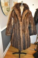 brown red thick opossum fur thigh coat jacket m/l