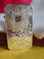 MERRY CHRISTMAS SANTA CLAUS NATIONAL 1 OZ .999 FINE SILVER BAR