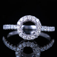 Sterling Silver 925 Semi Mount Setting Diamonds Engagement Ring 6.5mm Round Cut
