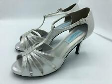 Dyeables Martina T-Strap Satin Dress Sandals (2210) Silver Shimmer Size 8.5W
