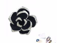 18K Gold GP SWAROVSKI Element Crystal Rose Pendant Necklace Black/Silver