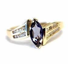 14k yellow gold .03ct SI1 H diamond oval Iolite womens ring 2.9g estate vintage