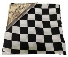 Tootal Blanco y Negro Bandera de Cuadros 100% Seda Bolsillo Cuadrado