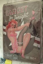 target for tonight sexy pin up girl embossed tin metal sign MAN CAVE brand new