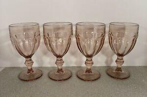 Libbey Duratuff GIBRALTAR Water Glass Goblet (s) LOT OF 4 Plum Light Purple NIC