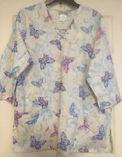 Cherokee Scrub Top 100% Cotton Butterfly Pattern - V-Neck - Pullover-7/8S - M