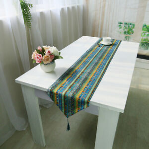 Boho Ethnic Table Rummer Tassel Vintage Dining Cover Tablecloth Home Party Decor