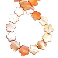 """MP2581f Red Copper Brown 15mm Flat Flower Mother of Pearl Shell Beads 15"""""""