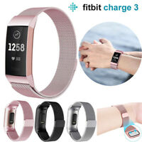 For Fitbit Charge 3 Strap Replacement Milanese Magnet Stainless Steel Band