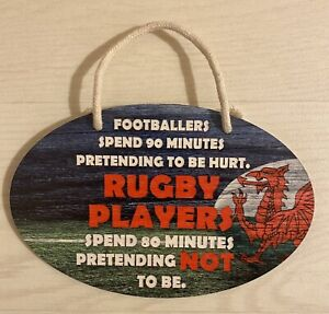 "Welsh plaque Hanging  ""Footballers & Rugby Players"" With Red Dragon 20 X 13cm"
