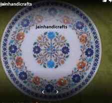 2'x2' White Marble Table Top Coffee Center Inlay Blue Malachite Home Decor Kk11