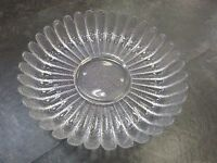 """Vintage Round Heavy 10 3/4"""" Clear Glass Pebble Serving Dish Bowl Scallop Design"""