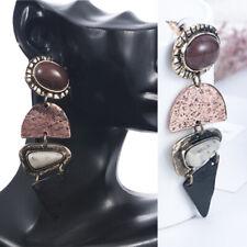 Retro Earring Alloy Natural Stone Pendant Dangle Ear Drop Earrings Women Jewelry
