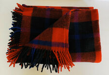 Vintage SuperSprint Red Tartan Plaid Wool Blanket Throw Fringe Tassels