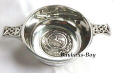 """SOLID PEWTER QUAICH HERALDIC RAMPANT LION CREST 3.5"""" MADE IN THE UK WHISKY CUP"""