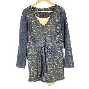 Marc Jacobs Romper Size 4 Womens Black Textured Rhiannon Lace Jumpsuit Shorts