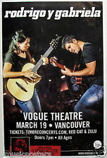 RODRIGO Y GABRIELA 2015 VANCOUVER CONCERT TOUR POSTER - Acoustic, Folk Music