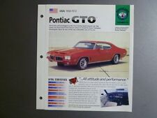 "1968 - 1972 Pontiac GTO IMP ""Hot Cars"" Spec Sheet Folder Brochure Awesome L@@K"
