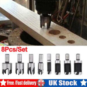 Wood Plug Hole Cutter 8 Pcs Set Dowel Maker Cutting Tools Shank Drill Bit Set UK